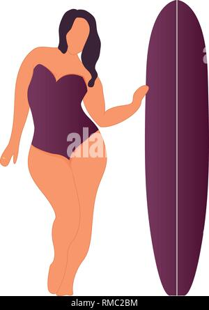 Girl with surfing board. Flat style illustration. Vector illustration - Stock Photo