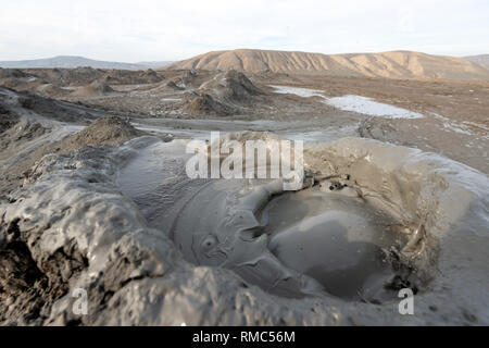Gobustan National Park in Eastern Azerbaijan close to Baku, taken in January 2019 - Stock Photo