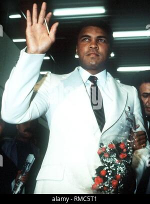 Muhammad Ali (born  Cassius Marcellus Clay), an American professional boxer. Ali revolutionized boxing in the 1960s, because he was not like the others, raw and cumbersome, but was attractive and fast. He danced around his opponents, dodging the attacks with astonishing reflexes, then suddenly slamming with lightning fast combinations. - Stock Photo