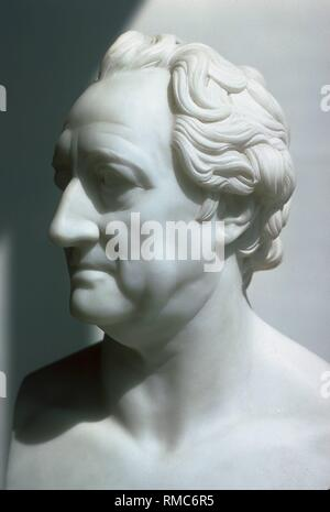 Johann Wolfgang von Goethe (1749-1832), a German poet. Marble bust of Christian Daniel Rauch (1777-1857), a major representative of the Berlin Classicism, that was created around 1825. - Stock Photo