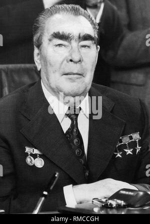 Leonid Ilyich Brezhnev (1906-1982), a Soviet politician, member of the Central Committee of the CPSU from 1952 and of the party executive committee from 1957. He was chairman of the Presidium of the Supreme Soviet  (titular head of state) from 1960 to 1964 and again from 1977. In 1964, he took a leading part in the overthrow of Khrushchev and became his successor as the First (since 1966 General) Secretary of the CPSU. - Stock Photo