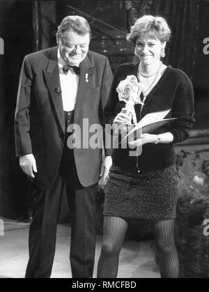 Nina Grosse (right) had wrote the screenplay for 'Der glaeserne Himmel' as a final thesis at the University of Television and Film. After completion of the project, in the early 1988, she also received from Bavarian Minister President Franz Josef Strauss, the Bavarian Film Award in the category Best Young People's Film. - Stock Photo
