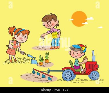 The illustration shows children working in the garden with different tools - Stock Photo