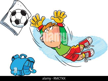Schoolboy footballer after school playing with soccer ball. Illustration done in cartoon style, on separate layers. - Stock Photo