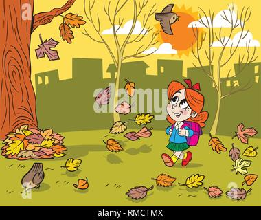 The illustration shows a little schoolgirl with a backpack. She goes to school through the park and looks at the falling leaves. Illustration done in  - Stock Photo