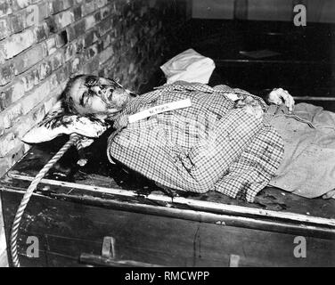 Reich Interior Minister Wilhelm Frick after his execution by hanging on October 16, 1946 in Nuremberg (Nuremberg Trials). - Stock Photo
