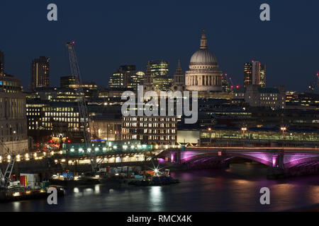 View on Financial District London at night Blackfriars Bridge, St. Paul's Cathedral, Bridge House