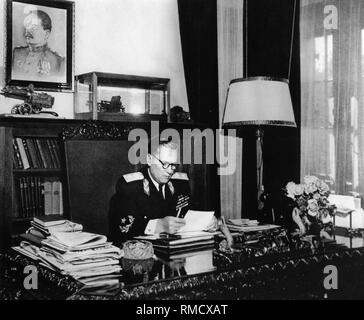 President of Yugoslavia Josip Broz Tito in his work studio. Photograph - Stock Photo