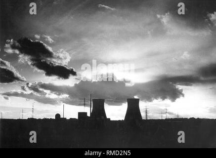 View of the Gundremmingen Nuclear Power Plant. It went into operation in 1984. It had the world's first boiling water reactor with a permanent license to process plutonium (MOX fuel). - Stock Photo