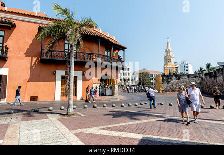 Traditional Architecture in Cartagena Colombia South America - Stock Photo