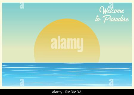 Seascape. Sunset on the ocean. Sunrise Postcard. Welcome to paradise. Summer background. Vector illustration - Stock Photo