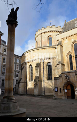 Temple Church in the Temple Bar area of the City of London, jointly owned by the Inner and Middle temple Inns of court - Stock Photo