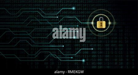 digital security privacy on the internet with blue binary code background vector illustration EPS10 - Stock Photo