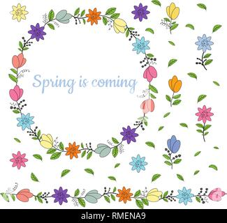 Colorful wreath made from different spring flowers and leaves. Welcoming lettering. Endless horizontal brush. Seamless horizontal border. Vector hand  - Stock Photo