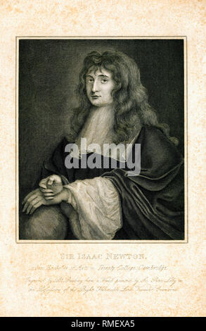 Portrait of Isaac Newton (1642-1727) as a student, engraving by Burnet Reading, 1799 - Stock Photo