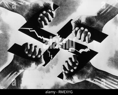 Four hands symbolizing the Allies (US, UK, France, Soviet Union) tear a swastika. - Stock Photo