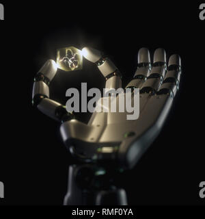 Robotic hand holding a cube with an artificial neuron inside. Concept of the evolution of cybernetic prostheses and artificial intelligence. - Stock Photo