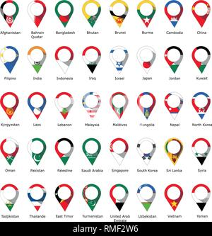 Flags in the form of a pin from Asian and Eastern countries with their names written below - Stock Photo