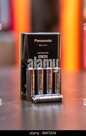 Chicago, Illinois, United States - February 1 2019: Shot of Panasonic Eneloop Pro rechargeable nickel metal hydride (Ni-MH) batteries. - Stock Photo