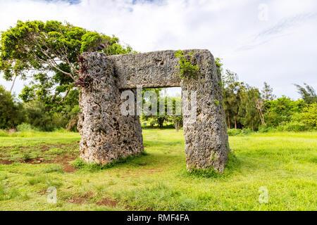 Haamonga a Maui, Ha'amonga 'a Maui or Burden of Maui, stone trilithon in the Kingdom of Tonga, overgrown in jungle, Tongatapu island, Niutoua village, - Stock Photo