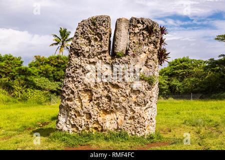 Side view of Haamonga a Maui, Ha'amonga 'a Maui or Burden of Maui, a stone trilithon in the Kingdom of Tonga, Tongatapu island, Niutoua village, Heket - Stock Photo