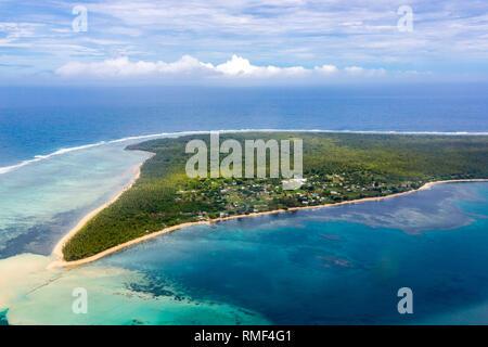 Aerial view of rural Uiha Island near Lifuka, the Haapai Group, Ha'apai, Ha'apai islands, Kingdom of Tonga, Polynesia, Oceania, South Pacific Ocean. P - Stock Photo