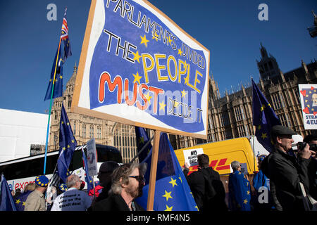 Anti Brexit pro Europe demonstrators protest in Westminster opposite Parliament as MPs debate and vote on amendments to the withdrawal agreement plans on 14th February 2019 in London, England, United Kingdom. - Stock Photo