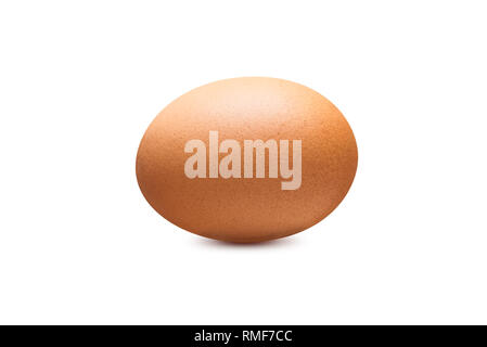 Single chicken egg brown color isolated on white background - Stock Photo