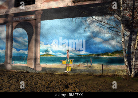 Krefeld, Germany. 11th Feb, 2019. 'Street Art Art' at the building of the 'Rhine Side Gallery' on the banks of the Rhine in the district of Uerdingen. Credit: Horst Ossinger/dpa/Alamy Live News - Stock Photo