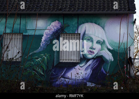 Krefeld, Germany. 11th Feb, 2019. 'Street Art Art' at a house on the banks of the Rhine in the district of Uerdingen, which was created by the street art artist 'Maria Kudasheva' as part of the event 'Rhine Side Gallery 2018' of the city of Krefeld. Credit: Horst Ossinger/dpa/Alamy Live News - Stock Photo