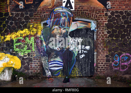 Krefeld, Germany. 11th Feb, 2019. 'Street Art Art' at a warehouse on the banks of the Rhine in the district of Uerdingen, which was created by the street art artist 'Adry del Rocio' as part of the event 'Rhine Side Gallery 2018' of the city of Krefeld. Credit: Horst Ossinger/dpa/Alamy Live News - Stock Photo