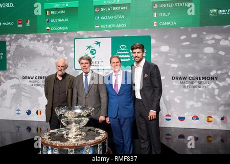 Madrid, Spain. 14th Feb, 2019. President and founder of Kosmos, FC Barcelona's soccer player Gerard Pique (R), President of the International Tennis Federation ITF, David Haggerty (2-R), Madrid Regional president, Angel Garrido (2-L), and general coordinator of the Madrid's Mayor, Luis Cueto (L), pose for the photographers during the Davis Cup quarters final draw held in Madrid, Spain, 14 February 2019. Davis Cup runs from 18 to 24 November 2019 in Madrid. Credit: Luca Piergiovanni/EFE/Alamy Live News - Stock Photo