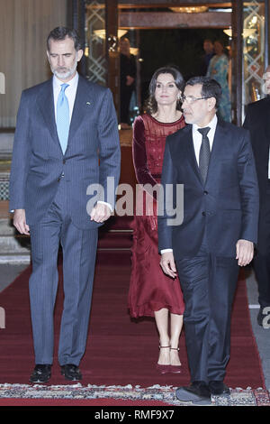 Rabat, Morocco. 14th Feb, 2019. King Felipe VI of Spain, Queen Letizia of Spain departure to Madrid after two day visit to Morocco at Rabat-Sale Airport on February 14, 2019 in Rabat, Morocco.The Spanish Royals are on a two day visit to Morocco Credit: Jack Abuin/ZUMA Wire/Alamy Live News - Stock Photo