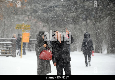 Changchun, China's Jilin Province. 15th Feb, 2019. People enjoy the snow at Deyuan park in Changchun, northeast China's Jilin Province, Feb. 15, 2019. Credit: Lin Hong/Xinhua/Alamy Live News - Stock Photo