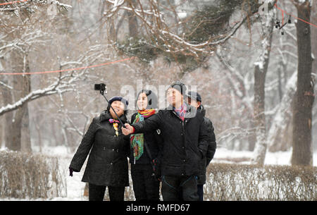 Changchun, China's Jilin Province. 15th Feb, 2019. People take a selfie at Nanhu park in Changchun, northeast China's Jilin Province, Feb. 15, 2019. Credit: Lin Hong/Xinhua/Alamy Live News - Stock Photo