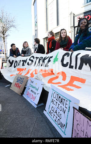Brighton, UK. 15th Feb, 2019. Students start to gather in Brighton to take part in the Youth Strike 4 Climate protest today as part of a coordinated day of national action. Credit: Simon Dack/Alamy Live News - Stock Photo