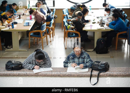 Xi'an, China's Shaanxi Province. 15th Feb, 2019. Two students study at the Shaanxi Library in Xi'an, northwest China's Shaanxi Province, Feb. 15, 2019. Many teenagers came to the library to read and study during their winter holiday after the Spring Festival. Credit: Shao Rui/Xinhua/Alamy Live News - Stock Photo