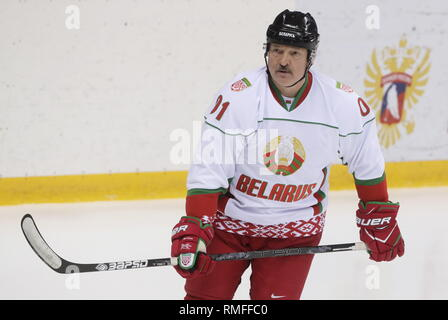 Sochi, Russia. 15th Feb, 2019. SOCHI, RUSSIA - FEBRUARY 15, 2019: Belarus' President Alexander Lukashenko during an ice hockey game at Shayba Arena. Mikhail Metzel/TASS Credit: ITAR-TASS News Agency/Alamy Live News - Stock Photo