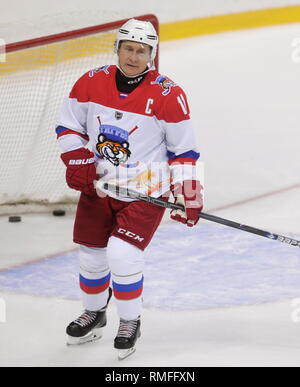 Sochi, Russia. 15th Feb, 2019. SOCHI, RUSSIA - FEBRUARY 15, 2019: Russia's President Vladimir Putin during an ice hockey game at Shayba Arena. Mikhail Metzel/TASS Credit: ITAR-TASS News Agency/Alamy Live News - Stock Photo