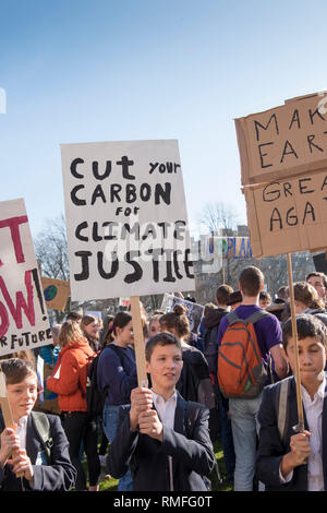 Bristol, UK. 15th Feb, 2019.  Bristol Students take time out from school to protest about Climate Change.They say they are part of the Youth Strike 4 Climate protest which is happening worlwide. Credit: Mr Standfast/Alamy Live News - Stock Photo
