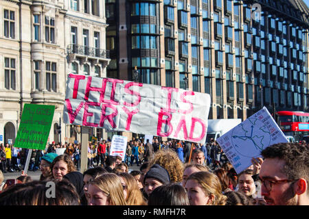 London, UK. 15th Feb, 2019. 15th February 2019, YouthStrike4Climate, Parliament Square, London. Students gather outside the houses of parliament in demonstration to fight against climate change. Credit: Oliver Cole/Alamy Live News - Stock Photo