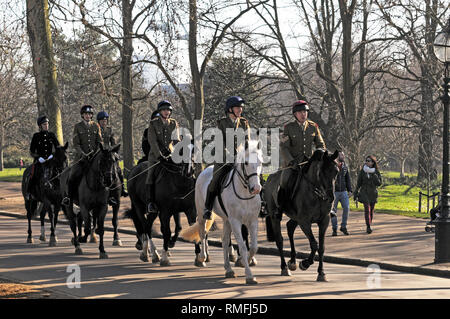 Hyde Park, London, UK. 15th Feb, 2019. People out enjoying the sunshine in warm spell. Sunshine in Hyde Park in the middle of February. Credit: JOHNNY ARMSTEAD/Alamy Live News - Stock Photo