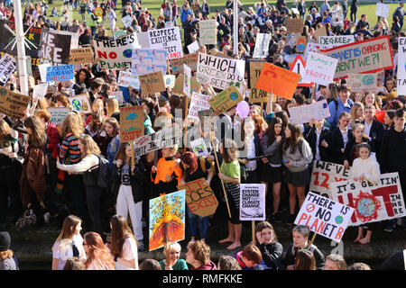 Bristol, UK. 15th Feb, 2019.  Students and school children gathered at College Green in Bristol for a climate strike, calling on the government to make changes. A list of demands was made and handed to the Mayor of Bristol by Bristols youth counsellors. Freelance Photographer, Lily Watts © Credit: Lily Watts/Alamy Live News - Stock Photo