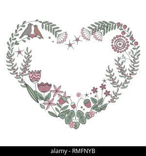 Floral heart frame with isolated flowers, herbs and leaves. Vector illustration - Stock Photo
