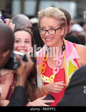 London, UK, 11th June 2014 Emma Thompson arrives on the Pink Carpet the World Premiere of 'Walking On Sunshine' at Vue West End - Stock Photo