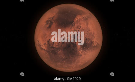 Planet Mars in Dark Space, Full Planet - Stock Photo