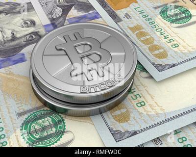 Dollars and Bitcoin - Stock Photo