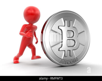 Silver bitcoin and man. Image with clipping path - Stock Photo