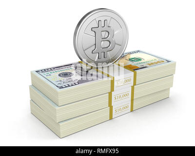 Pile of Dollars and Bitcoin. Image with clipping path - Stock Photo