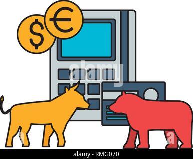 bull and bear stock market - Stock Photo